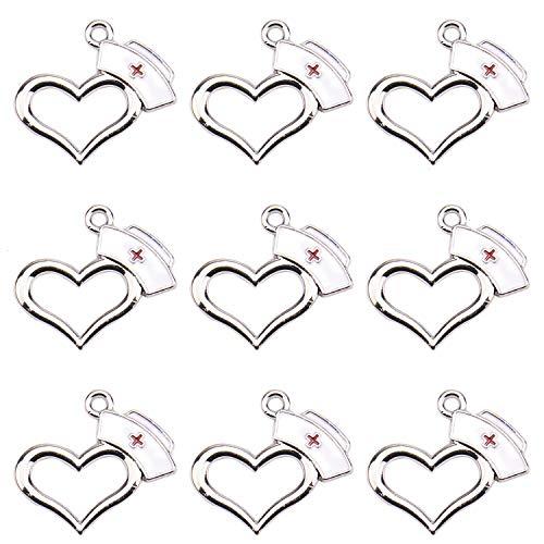 Monrocco 10 Pack Enamel Heart Nurse Cap Charm Pendants Bulk Nurse Medical Charms for Bracelet Jewelry Making