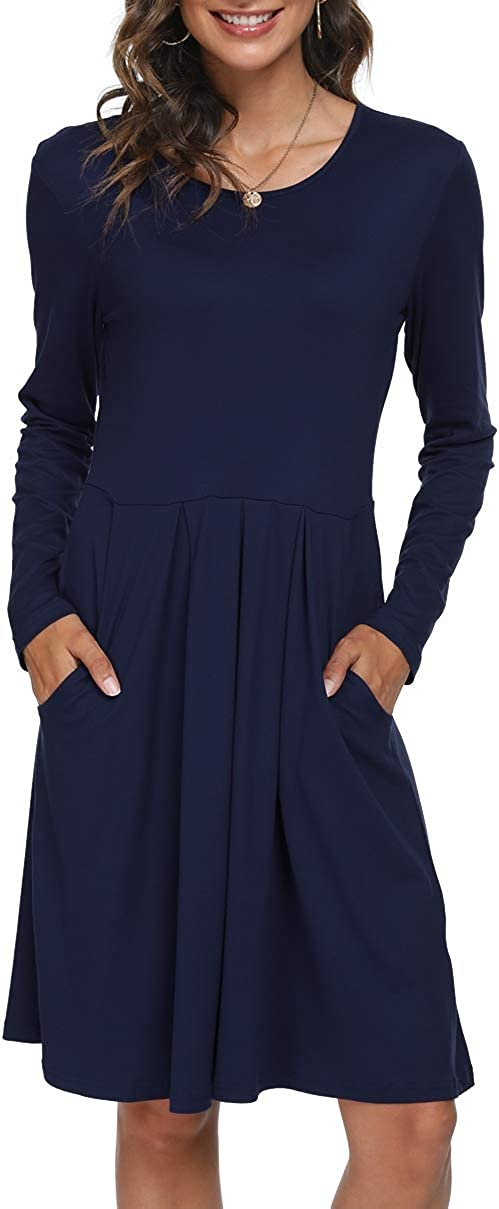 DouBCQ Women's Casual Long Sleeve Flowy Pleated Fall Dresses with Pockets