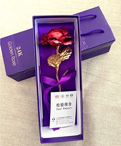 Gift for Girlfriend Red for Birthday Best Valentines Day Gift Wedding 24K Gold Foil Golden Rose Foil Flowers 9.6 Inches Handcrafted Last Forever with Gift Box Decoration Artificial Rose Flowers and Base Mothers Day Party