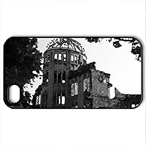 Atomic Bomb Dome in Hiroshima - Case Cover for iPhone 4 and 4s (Monuments Series, Watercolor style, Black)