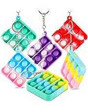PhyPa 6 PCS Pop Bubble Fidget Toy, Mini Keychain Stress Relief Autism Special Needs Squeeze Sensory Hand Toys for Kids Family, Gift for Boys and Girls