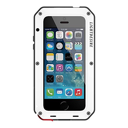 iPhone 5 SE Case LIGHTDESIREAluminum Alloy Protective Metal Extreme Water Resistant Shockproof Military Bumper Heavy Duty Cover Shell - White