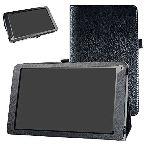 OYYU T11 Case,Bige PU Leather Folio 2-Folding Stand Cover for OYYU T11 10 Inch 3G Android Tablet,Black