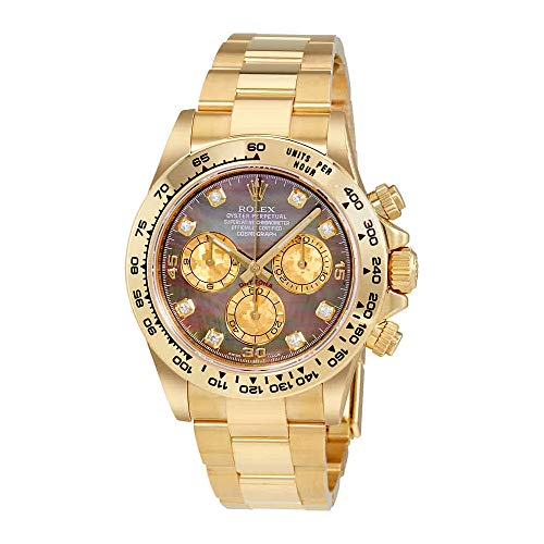 Rolex Cosmograph Daytona Black Mother of Pearl Dial 18K Yellow Gold Mens Watch 116508BKMDO