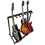 MyGift 7 Guitar Black Metal Padded Folding Stand, Portable Electric & Acoustic Guitar