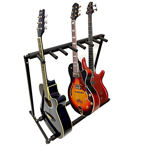 - 7 Guitar Black Metal Padded Folding Stand, Portable Electric & Acoustic Guitar Stage Rack