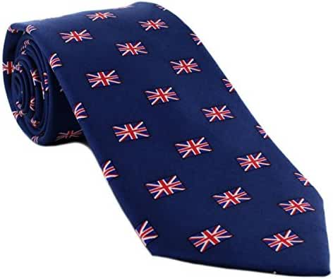 Navy/Red/White Small Union Jack All Over Pattern Silk Tie by Michelsons of London