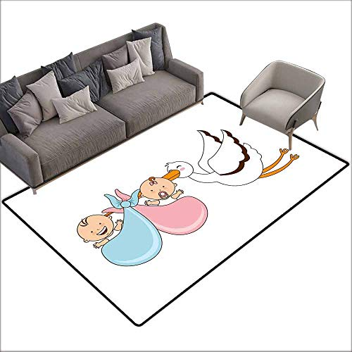 Rug Boop Betty Baby - Children's Rugs Playrug Rugs Gender Reveal Babies with Stork Mythical Congratulation Playroom Baby Shower Kids Theme Breathability W5' x L6'10 Multicolor