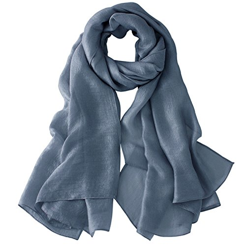 Women Lightweight Spring Summer Oversized Plain Shawl Wrap Beach Scarf (Denim Blue)