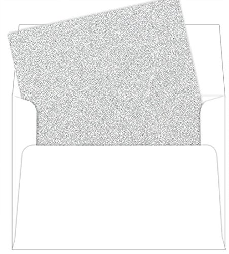 A7 Sparkle Silver Glitter Envelope Liners, MirriSPARKLE, 25 Pack - Silver Envelope Liners
