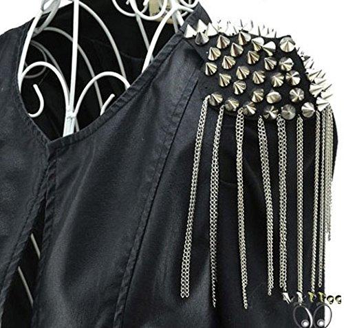 Epaulette noire à pics métalliques et chaînettes gothique punk