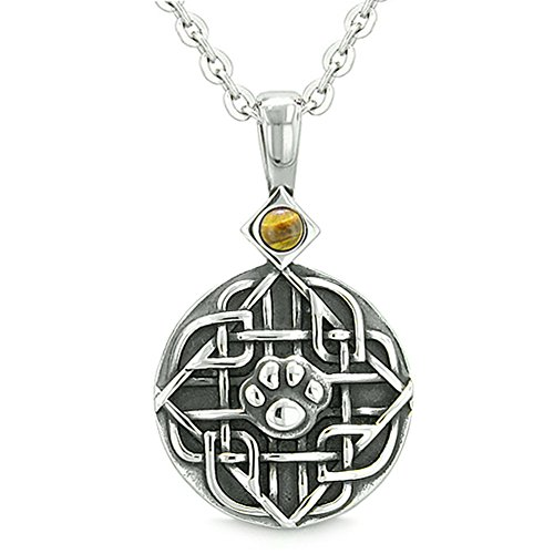 Amulet Celtic Shield Knot Magic Wolf Paw Tiger Eye Protection Magic Powers Pendant 18 Inch Necklace ()