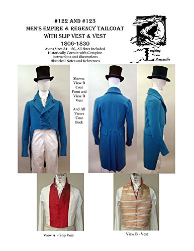 [Mens Empire Regency Tailcoat with Slip Vest Laughing Moon Costume Pattern 122/123] (Period Costumes 1830)