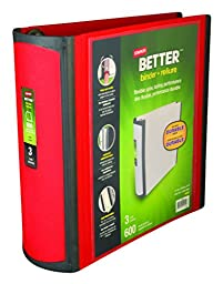 Staples Better 3-Inch D 3-Ring View Binder, Red