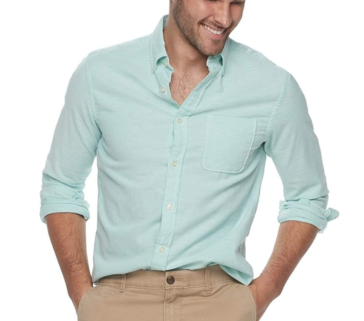 Sonoma Mens Classic Fit Poplin Stretch Casual Shirt Light Green Solid