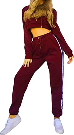 FSSE Womens Hooded Sweatshirt+Pants Gym Workout Casual Sport Tracksuits Outfits