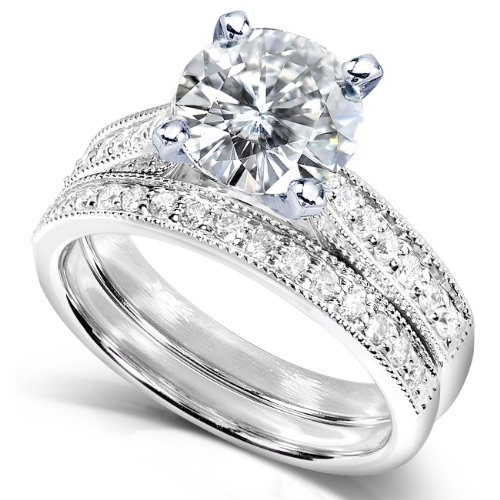 Exceptional Amazon.com: Round Moissanite (2ct DEW) And Diamond Wedding Ring Set In 14k White  Gold   Size 6.5: Kobelli Jewelry: Jewelry Design Inspirations