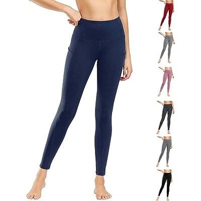 WateLves Leggings de yoga para mujer, cintura alta, bolsillos para control de barriga, pantalones de entrenamiento, pantalones casuales