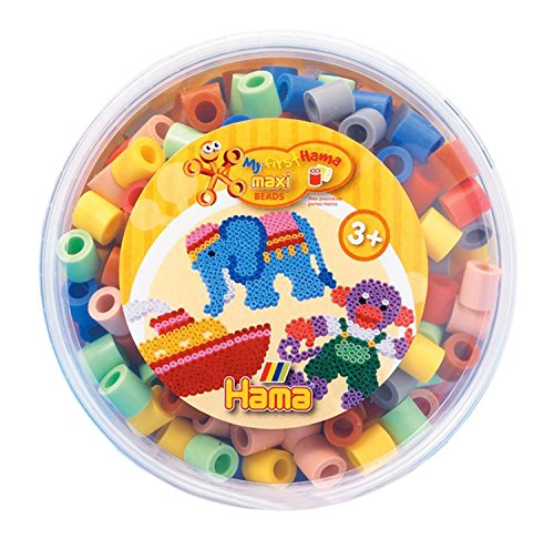 - Hama My First Maxi Beads - 600 Pale Colour Mixed Beads in a Tub 8573 by