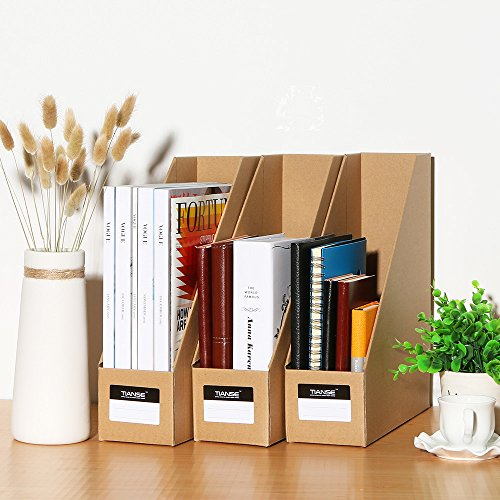 TIANSE File Magazine Holder, Desk Storage Organizer for Office Home, Kraft Paper(Pack of 3) Photo #8