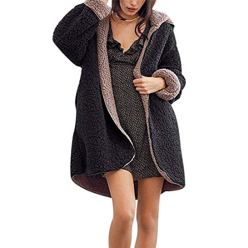 SONGANG Women Casual Hooded Fleece Coat Warm Faux Fur Reversible Fuzzy Outwear with Pockets (Black,M)