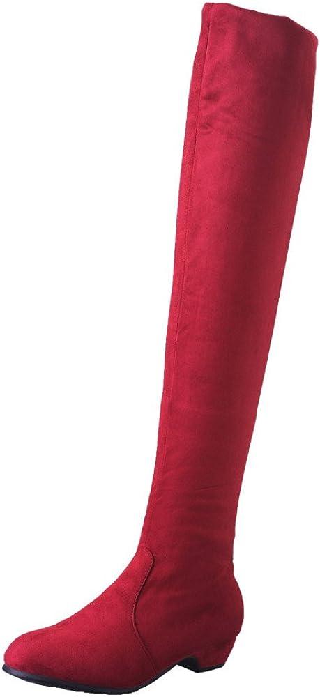 Botas Alto Mujeres, LANSKIRT Mujer Invierno Otoño Gamuza Slim Fit sobre la Rodilla Zapatos Planos de Las Botas Botas Largas Largas de Ante de Pierna Alta