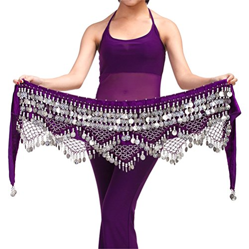 [320 Silver Coins Belly Dance Hip Scarf Costume Belt] (Scarf Coin Belly Dance Costumes)