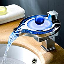 Derpras Bathroom Sink Faucet with Water Power LED Waterfall Faucet 3 Colors Changing Based on Water Temperature, Polish Chrome