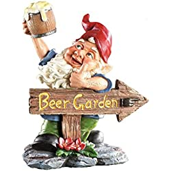 "Beer Garden Gnome Lawn Ornament., Hand Painted Resin. 10"" tall. Perfect for Oktoberfest, Walkways, Gardens, Patios, and Beer Festivals"