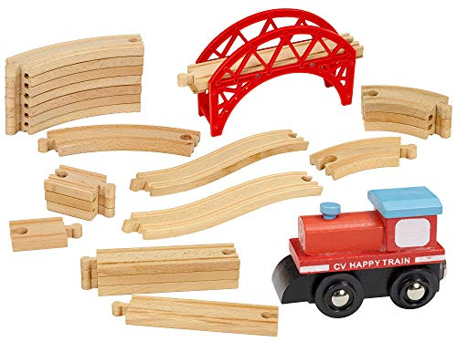 Dragon Drew 24 Piece Wooden Train Set - Compatible with Brio, Thomas, Chuggington and All Major Brands - Accessories and Expansion Kit Includes 22 Tracks, a Bridge and 1 Engine Car