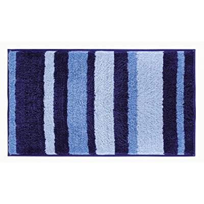 "iDesign Stripes Microfiber Polyester Bath Mat, Non-Slip Shower Accent Rug for Master, Guest, and Kids' Bathroom, 21"" x 34"", Surf Blue - HIGH-QUALITY FABRIC: Made of 100% microfiber polyester, this non-slip striped blue shower rug adds classic and chic style to your master bathroom, kitchen, kid's bathroom, guest bathroom, office, craft room, and other places in your home STURDY: Stays in place throughout the day with a non-skid, no-slip backing EASY MAINTENANCE: This bathroom rug is machine washable and hangs dry for easy cleaning - bathroom-linens, bathroom, bath-mats - 51W3gL1rUaL. SS400  -"