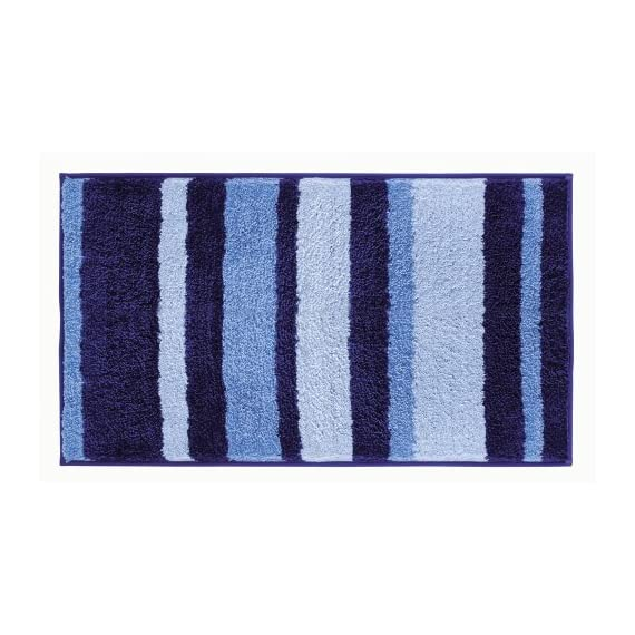 """iDesign Stripes Microfiber Polyester Bath Mat, Non-Slip Shower Accent Rug for Master, Guest, and Kids' Bathroom, 21"""" x 34"""", Surf Blue - HIGH-QUALITY FABRIC: Made of 100% microfiber polyester, this non-slip striped blue shower rug adds classic and chic style to your master bathroom, kitchen, kid's bathroom, guest bathroom, office, craft room, and other places in your home STURDY: Stays in place throughout the day with a non-skid, no-slip backing EASY MAINTENANCE: This bathroom rug is machine washable and hangs dry for easy cleaning - bathroom-linens, bathroom, bath-mats - 51W3gL1rUaL. SS570  -"""