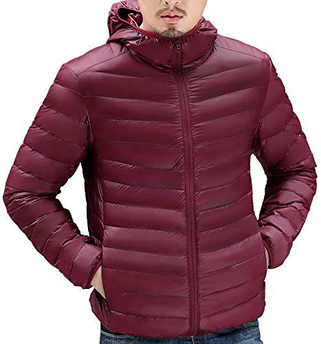 Trensom Men's Lightweight Packable Hooded Down Jacket Ultralight Winter Zip Puffer Coat Wine X-Small