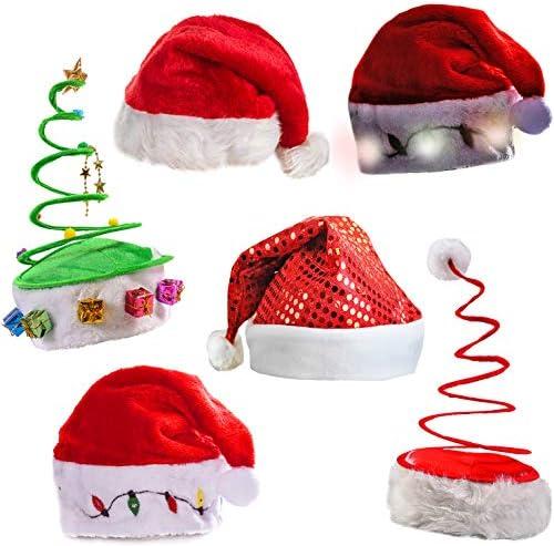 BBTO 4 Pack Christmas Hats and Antler Headband Set Includes Santa Hat Xmas Tree Hat Christmas Elf Hat and Reindeer Headbands for Christmas Holiday Party Favors