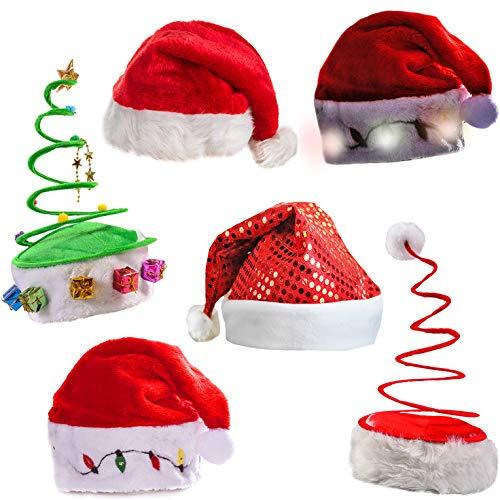 Funny Party Hats Christmas Hats - Santa Hat, Elf Hat, Coil Santa Hat (6 Pack)