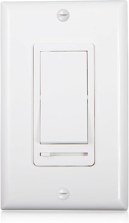[DIAGRAM_4FR]  Maxxima 3-Way/Single Pole Decorative LED Slide Dimmer Rocker Switch  Electrical light Switch 600 Watt max, LED Compatible, Wall Plate Included -  - Amazon.com | Decor Rocker Light Switch Wiring Diagram |  | Amazon.com