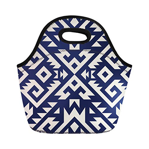 (Semtomn Neoprene Lunch Tote Bag Mexican Tribal Navajo Aztec Fancy Abstract Geometric Ethnic Hipster Reusable Cooler Bags Insulated Thermal Picnic Handbag for Travel,School,Outdoors, Work)