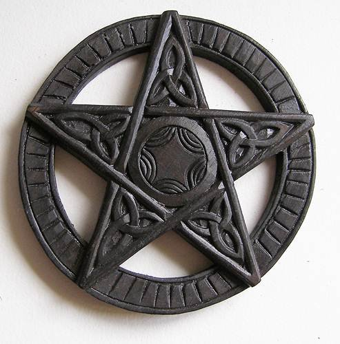 Hand carved wooden plaque 15cm Worn Aged look Cornwall Art Prints Pentagram wall hanging