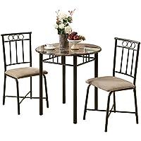 L&S Basics 10485 Dining Set - 3Pcs Set / Cappuccino Marble / Bronze Metal