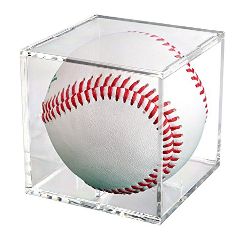 Square Baseball Holder | Full Acrylic Stackable Baseball Memorabilia Cube | 3.2 x 3.2 x 3.2