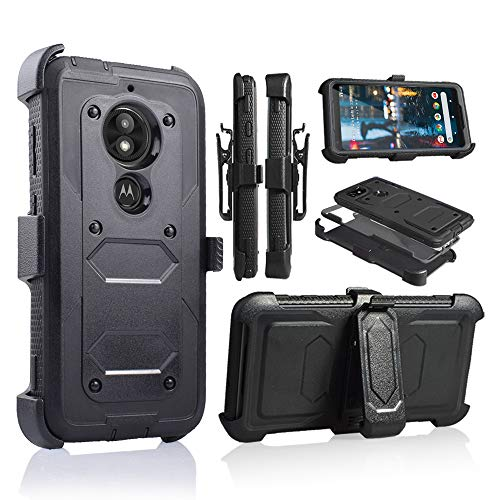 Moto E5 Play Case, Motorola E5 Cruise Holster Clip, Shockproof Heavy Duty Built-in Screen Protector w/Belt Clip Kickstand for Moto E5 Play (Black) (Moto 4g Best Price)