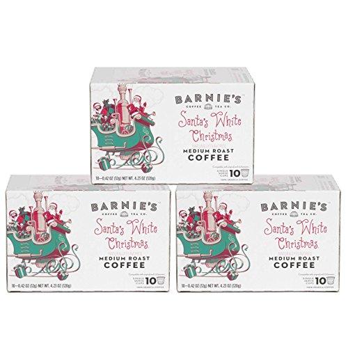 Barnies Coffee & Tea Santas White Christmas Single Serve Coffee K-Cups, Medium Roast, Arabica Coffee Beans, 30 Count