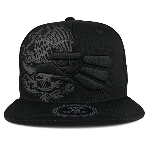Trendy Apparel Shop Hecho En Mexico Eagle 3D Embroidered Flat Bill Snapback Cap - Black Black