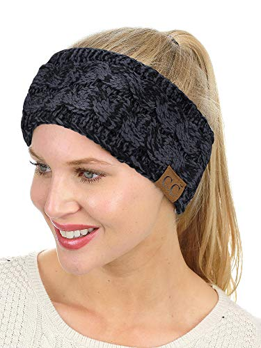 C.C Soft Stretch Winter Warm Cable Knit Fuzzy Lined Ear Warmer Headband, Black/Gray Mix