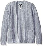 DKNY Girls' Big Drop Shoulder Shaker Cardigan, Grey/Silver Lurex, 12