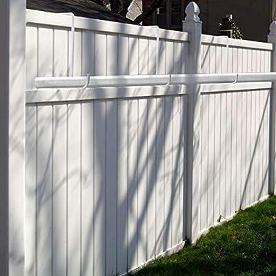 ESFUN 6 Pack 2 x 6 inch Vinyl Fence Hooks Patio Hooks White Powder Coated Steel Hangers fits Easily for Indoor & Outdoor Hanging Lights, Plants & Planters, Bird Feeder, Pool Equipment : Garden & Outdoor