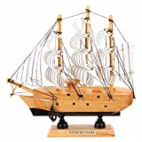 Modern Handmade Vintage Nautical Wooden Wood Ship Sailboat Boat Model Craft Decor For Home Garden Ornaments