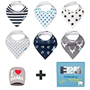 Bandana Baby Bibs for Boys and Girls, with Snaps, 6 Pack Gift Set for Feeding, Drooling, Teething, PLUS FREE I LOVE MAMA Hat - BEST BABY SHOWER GIFTS for Mom, for newborn Baby, CUTE and Soft bib