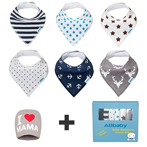 Bandana Baby Bibs for Boys and Girls, with Snaps, 6 Pack Gift Set for Feeding, Drooling, Teething, PLUS FREE I LOVE MAMA Hat - BEST BABY SHOWER GIFTS for Mom, for newborn Baby, CUTE and Soft bib (Baby Basket Gift Mother)