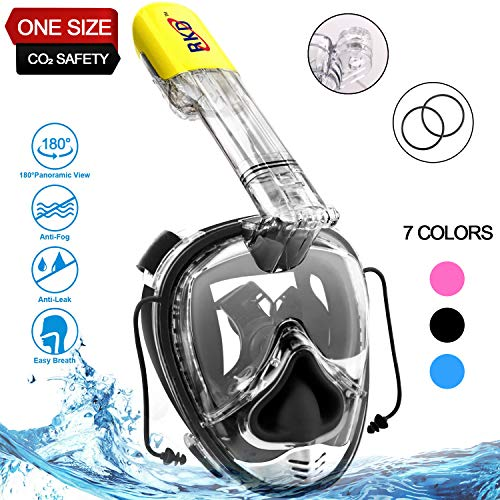 RKD Full Face Snorkel Mask,Snorkeling Mask,180°Panoramic View,Free Breathing Anti-Fog Anti-Leak Full Face Snorkeling Mask with Go-pro Mount,Against CO₂ Build-Up,One Size for Kids and Adults (Black) ()